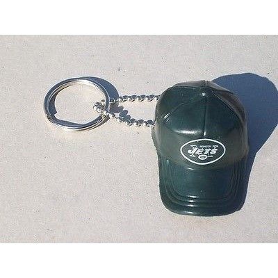 "NFL New York Jets Key chain Key Ring Keyring 2"" Mini Hat Solid Color Plastic Cap"