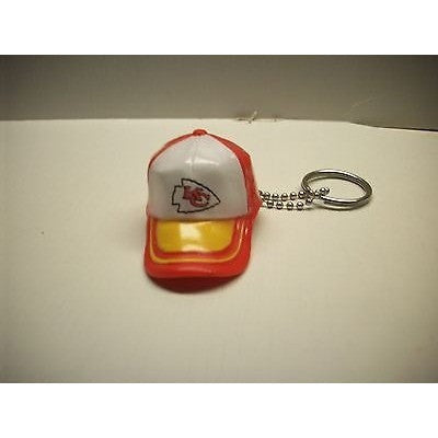 "NFL Kansas City Chiefs Key Chain Key Ring Keyring 2"" Mini Hat 2-Tone Plastic Cap"