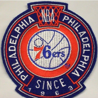 "NBA Philadelphia 76ers 77-97 Logo in 3.25"" Crest Embroidered NON Iron on Patch"