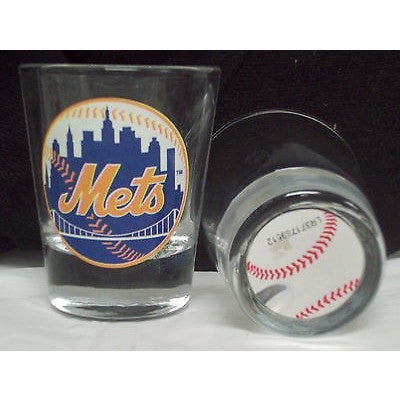 MLB New York Mets Team Logo on Clear 2 oz Shot Glass Hunter