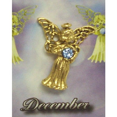 December Guardian Angel Pin Birthstone Antiqued Gold Plated Message Miracles
