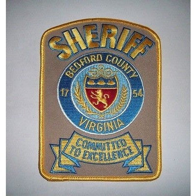 "Bedford County Virginia Sheriff 5 1/4"" by 3 3/4"" Embroidered Iron On Patch"