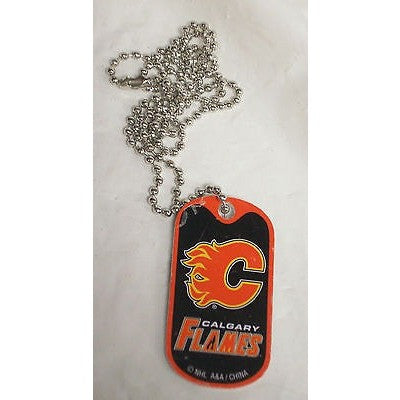 "NHL Calgary Flames Logo on Dog Tag 2""x1"" w/ 21"" Ball Chain Necklace"