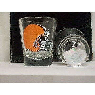 NFL Cleveland Browns Team Logo on Clear 2 fl oz Shot Glass Hunter