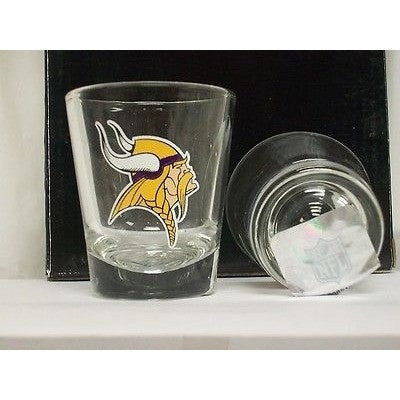NFL Minnesota Vikings Team Logo on Clear 2 fl oz Shot Glass Hunter