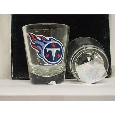 NFL Tennessee Titans Team Logo on Clear 2 fl oz Shot Glass Hunter