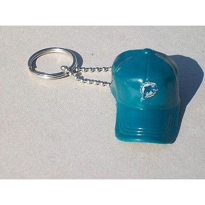 "NFL Miami Dolphins Key chain Key Ring Keyring 2"" Mini Hat Solid Color Plastic Cap"