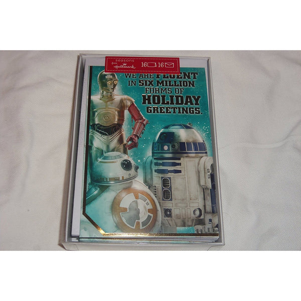 "Hallmark Star Wars C3PO R2D2 BB-8 Christmas Cards 16 & Envelopes 7"" x 4.75"""