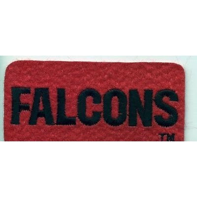 "NFL Atlanta Falcons 3 1/2"" by 1 3/4"" Name Embroidered In Black on Red Felt Patch"