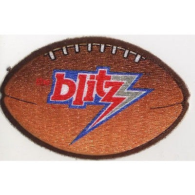 "USFL Chicago Blitz Patch Iron-On 4"" Oval Velvet Football"
