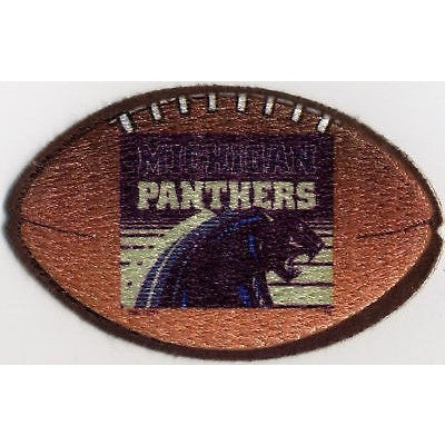"USFL Michigan Panthers Patch Iron-On 4"" Oval Velvet Football"