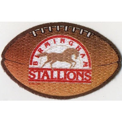 "USFL Birmingham Stallions Patch Iron-On 4"" Oval Velvet Football"