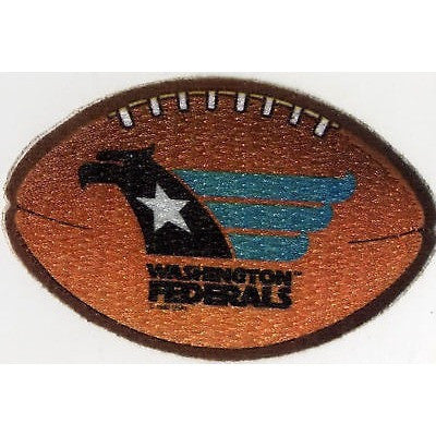 "USFL Washington Federals Iron-On Patch 4"" Oval Velvet Football"