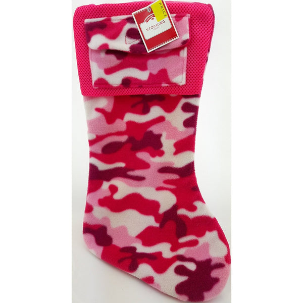 "18"" Pink White Red Camouflage Christmas Stocking with Pocket by Holiday Time"