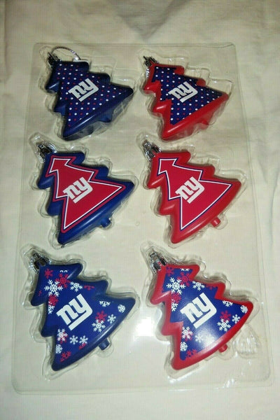 New York Giants Shatterproof Red and Blue Trees Christmas Tree Ornaments Set 6