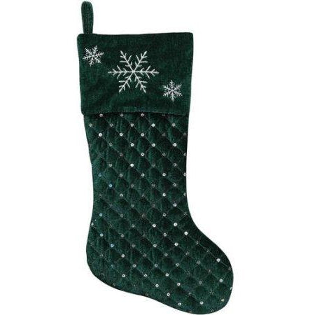 "Holiday Time Green 17"" Christmas Stocking Quilted Velvet Silver Sequins Embroidered"