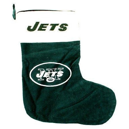 "17"" New York Jets Green Plush Fur Cuff Christmas Stocking Forever Collectibles"