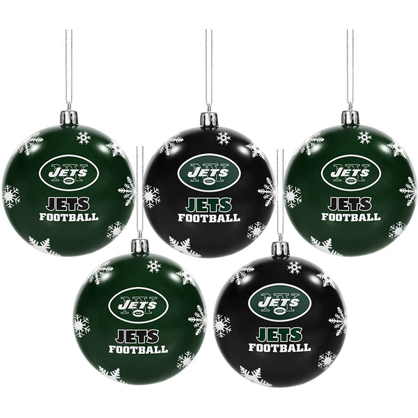 "5 NFL New York Jets Christmas Ornaments 2.5"" Plastic Ball Black & Green"