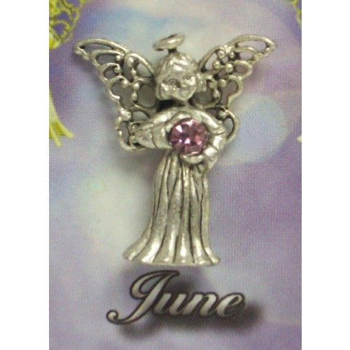 June Guardian Angel Pin Birthstone Antiqued Silver Plated Message Miracles