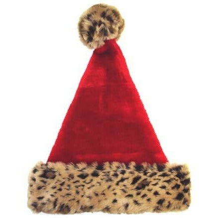 "Fuzzy Red Santa Hat w/ Leopard Print Trim 18"" Tall Merry Brite"