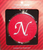 Harvey Lewis Monogram White N on Red Cloth Silver Swarovski Crystals Ornament