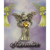 November Guardian Angel Pin Birthstone Antiqued Silver Plated Message Miracles
