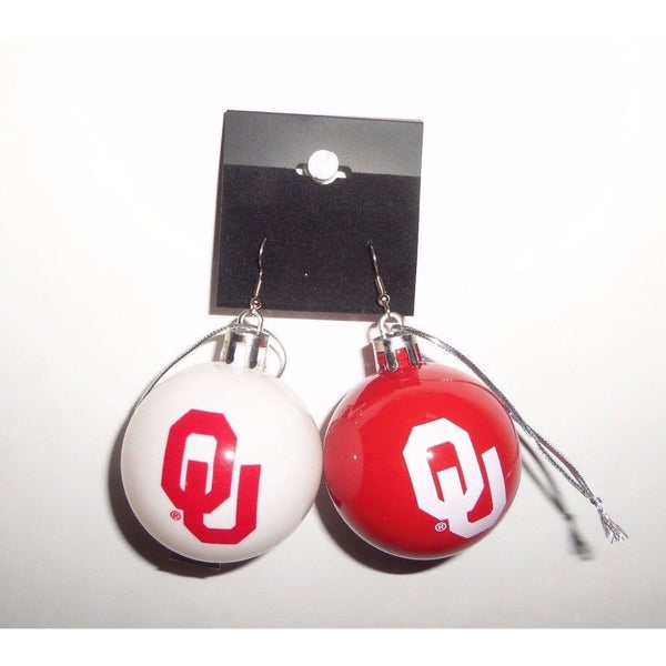"NCAA Oklahoma Sooners Christmas Ornament Earrings 2"" Plastic Ball Red and White"