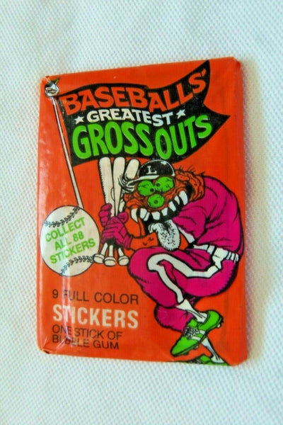 1 Pack Leaf Baseball Greatest Grossouts 9 Stickers