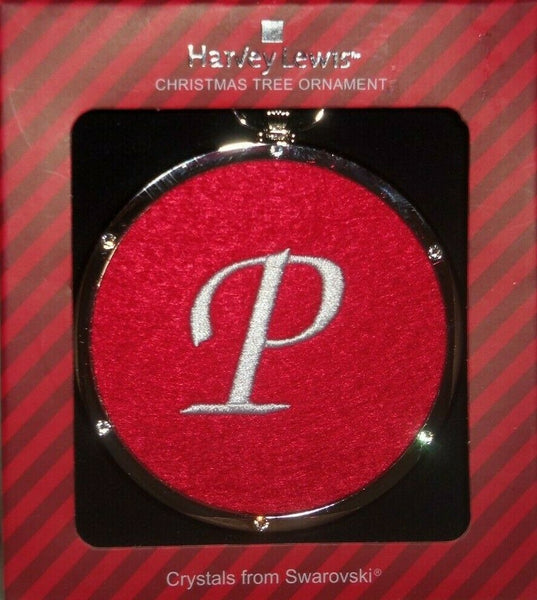 Harvey Lewis Monogram White P on Red Cloth Silver Swarovski Crystals Ornament