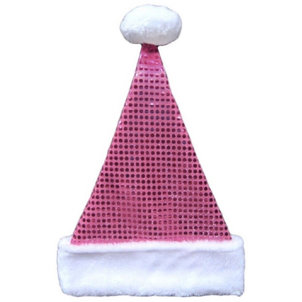"Pink Metallic Sequin Santa Hats w/ White Trim 17"" Tall Merry Brite"
