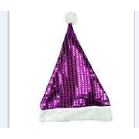 "Purple Metallic Sequin Santa Hats w/ White Trim 17"" Tall Merry Brite"