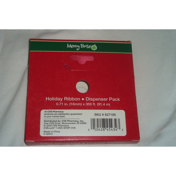"1 Roll Merry Brite Holiday Ribbon Red 3/4"" wide Dispenser Packs 300 feet long"