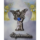 September Guardian Angel Pin Birthstone Antiqued Silver Plated Message Miracles