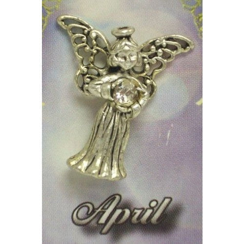 April Guardian Angel Pin Birthstone Antiqued Silver Plated Message Miracles