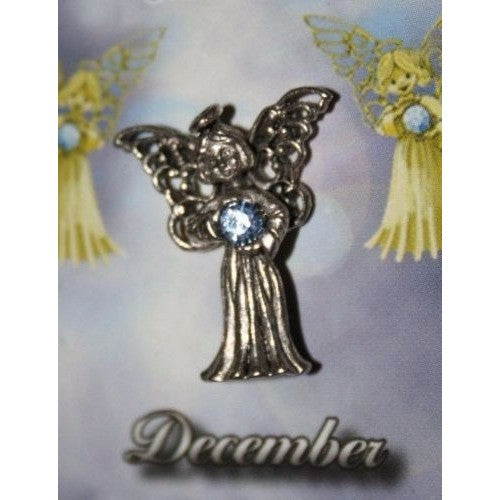 December Guardian Angel Pin Birthstone Antiqued Silver Plated Message Miracles
