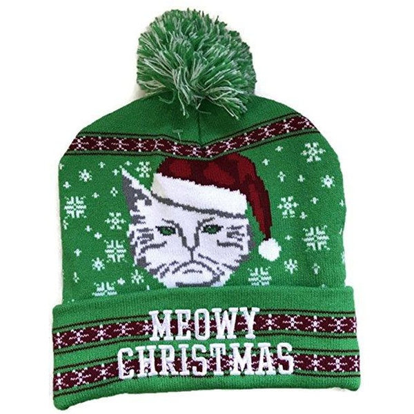 Green Meowy Christmas Knit Beanie Winter Adult Hat by Greensource