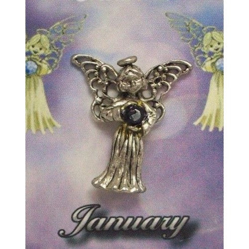 January Guardian Angel Pin Birthstone Antiqued Silver Plated Message Miracles