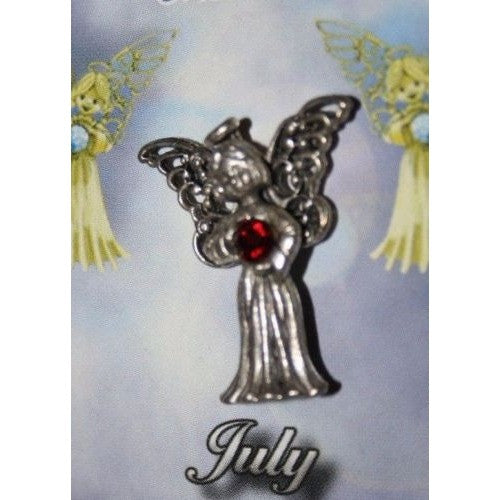 July Guardian Angel Pin Birthstone Antiqued Silver Plated Message Miracles