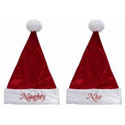 "Naughty and Nice Message On Front and Back Santa Hat 18"" Tall"