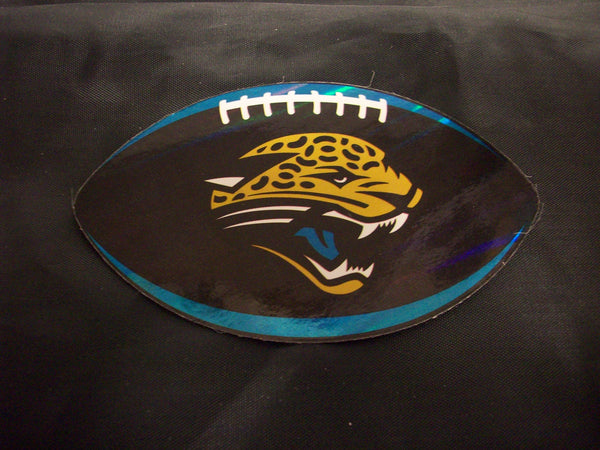 "NFL Jacksonville Jaguars Logo On Prismatic 4.25"" Oval Paper Sticker #15"
