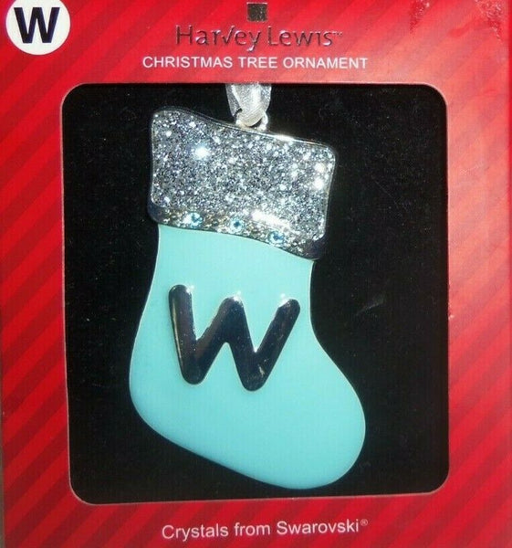 Harvey Lewis Monogram Letter w Blue Stocking Silver Swarovski Crystals Ornament