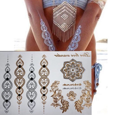 Fashionable  Temporary Flower Body Henna Tattoo in Metallic Gold and Silver - MyShimi.com