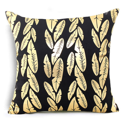 Premium Cotton Tropical Plant Bronzing Print  Cushion Covers