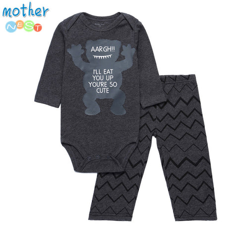 Long Sleeves Casual Baby Clothes Set in Cartoon Print Design - MyShimi.com