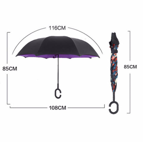 Creative C Hook Free Handle Double Layer Windproof Reverse Umbrella - MyShimi.com
