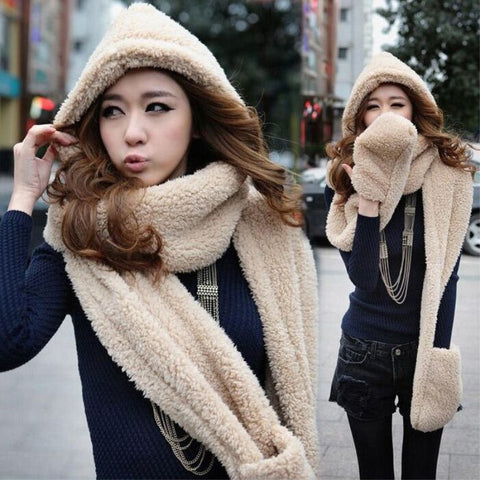 Winter Long Scarf Cap with Hand Pocket