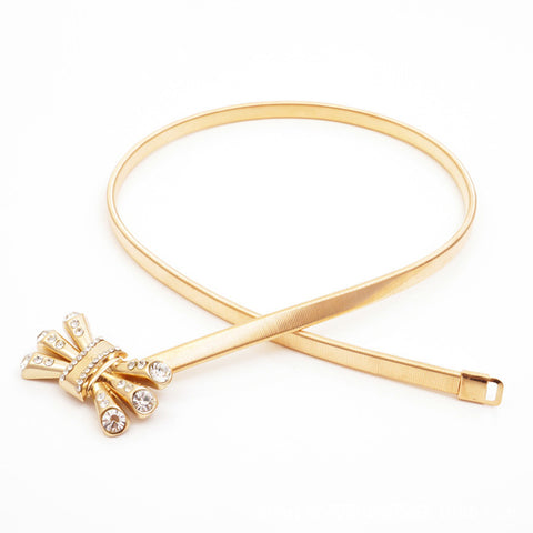 Thin Elastic Metal  Belt with Crown Crystal Bow Design for Women - MyShimi.com