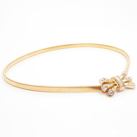 Thin Elastic Metal  Belt with Crown Crystal Bow Design for Women