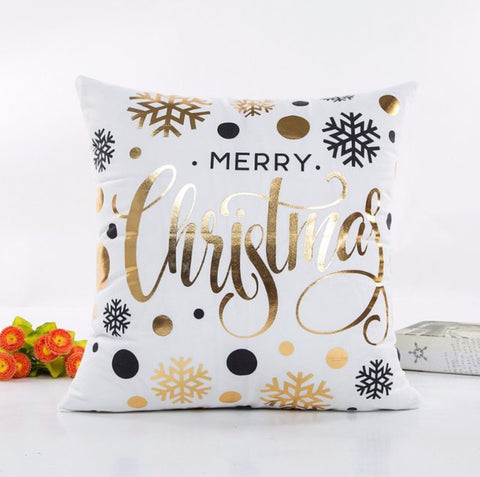 Christmas Cushion Soft Pillowcase in Gold and Bronze Prints - MyShimi.com