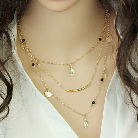 Multi Layer Leaf Chain Bohemian Necklace Jewelry for Women - MyShimi.com